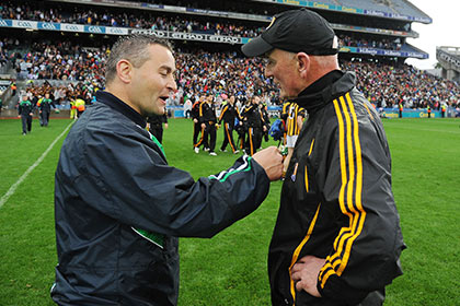 Kilkenny manager Brian Cody and Limerick manager TJ Ryan after the All Ireland semi final. INPHO