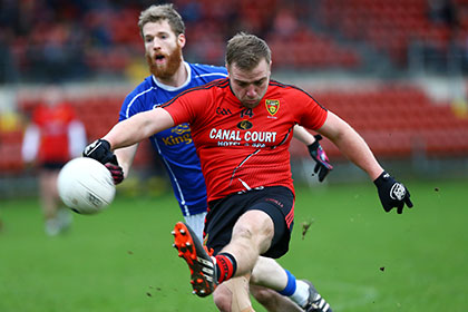 Down's Arthur McConville with Cavan's Rory Dunne during the McKenna Cup