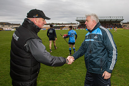 Kilkenny manager Brian Cody and Dublin manager Ger Cunningham shake hands after the game. INPHO