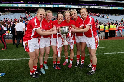 Ten time All Ireland winners, Deirdre O'Reilly, Briege Corkery, Geraldine O'Flynn, Valerie Mulcahy, Brid Stack and Rena Buckley of Cork celebrate. INPHO