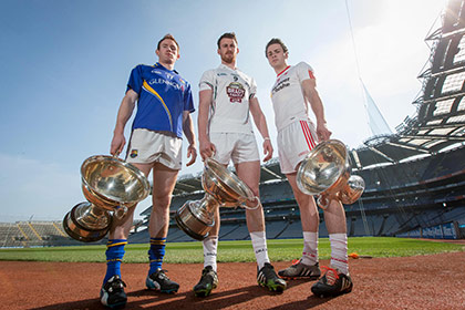 Longford's Martin Coyle, Eanna Ó Néill of Kildare and Damien Casey of Tyrone at the launch of Nicky Rackard, Lory Meagher and Christy Ring Cup Competitions in Croke Park,