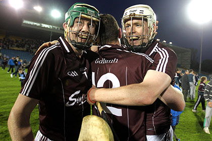 Galway's Rory Foy, Tadhg Haran and Niall Quinn celebrate after their win over Dublin in the 2011 All Ireland U21 hurling final