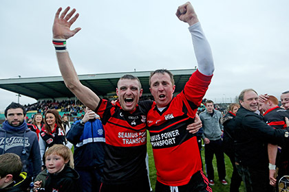 Mount Leinster's Gary Kelly and goalkeeper Frank Foley celebrate after their Leinster Club SHC final win. INPHO