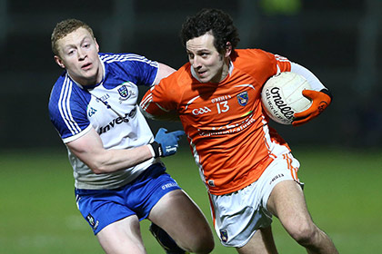Armagh's Jamie Clarke with Monaghan's Colin Walshe. INPHO