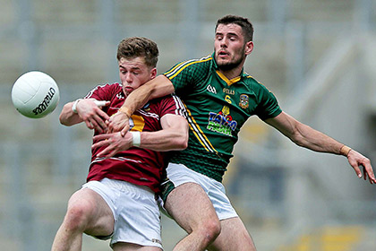 Ger Egan of Westmeath with Donal Keogan of Meath. INPHO