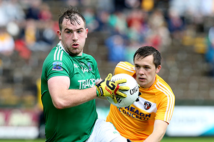 Sean Quigley of Fermanagh and Niall Delargy of Antrim. INPHO
