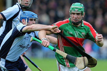 Loughmore Castleiney's Noel McGrath and Kevin Tucker of Nenagh during the Tipperary SHC final. INPHO