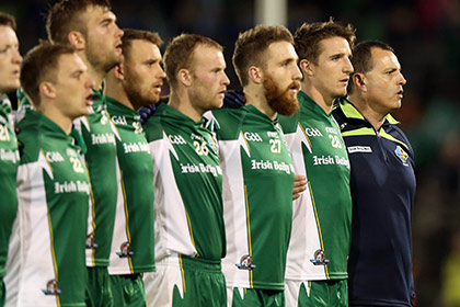 Ireland coach Paul Earley stand's with his team for The National Anthem. INPHO