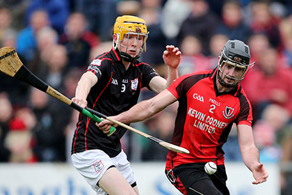 Mount Leinster Rangers' Padraig Nolan and Eoin Moore of Oulart-The Ballagh. INPHO
