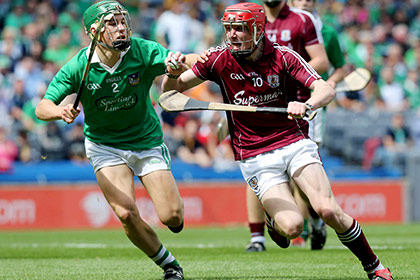 """Galway's Conor Whelan with Sean Finn of Limerick during the """"Hawk Eye"""" semi final at Croke Park. INPHO"""