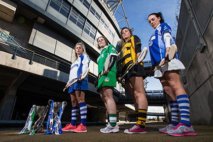 AIB All Ireland Camogie Senior & Intermediate Club Championship finalists, (left/right) Elaine O'Riordan, Milford, Emilie Darmody, Ballyhale Shamrocks, Shona Curran, Lismore, and Rachel O'Toole, Ardrahan pictured in advance of the AIB GAA Club Championship Camogie Finals in Croke Park.