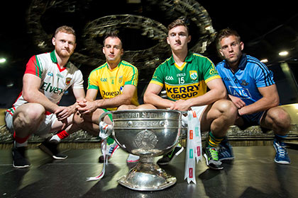 Pictured at the lauch were Mayo's Robbie Hennelly, Donegal's Karl Lacey, Kerry's James O'Donoghue and Jonny Cooper of Dublin. INPHO