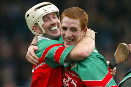 Former greats Donal Franks and Barry Whelehan celebrate another Birr success