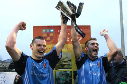 Peter Donnelly and Mark Lynch lift the Sigerson Cup for UUJ back in 2008. INPHO
