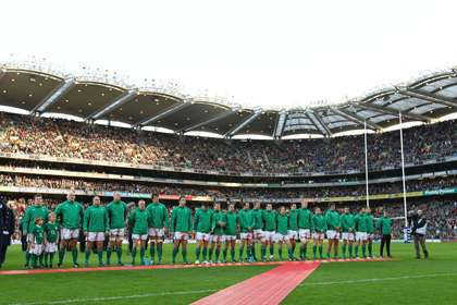 The Irish rugby squad line up in Croke Park
