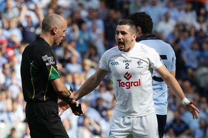 Kildare's Aindriu Mac Lochlain reacts after referee Cormac Reilly awards a late free to Dublin