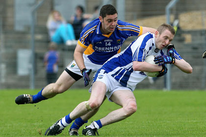 Wicklow's Seanie Furlong tackles Thomas O'Gorman of Waterford. INPHO