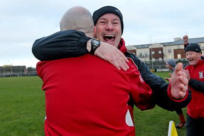 Paul Curran celebrates after Ballymun Kickham's Leinster Club SFC final win over Portlaoise at Cusack Park. INPHO