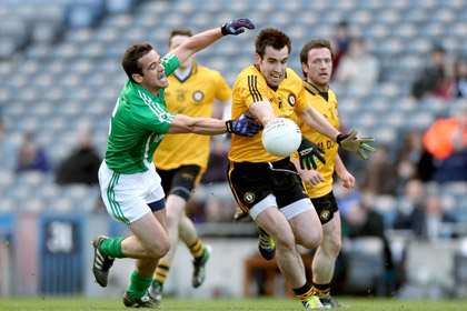 Leinster's Ger Brennan and Kevin Niblock of Ulster during the Interprovincial Championship Final at Croke Park. INPHO