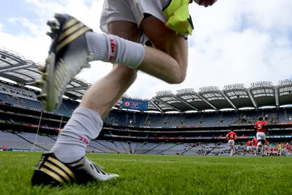 General view of a player taking to the field at Croke Park.<br />&#169;INPHO/James Crombie.