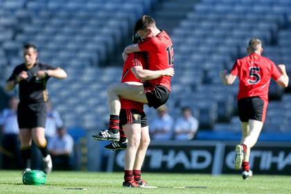 Down&#39;s James Coyle and Paul Sheehan celebrate the 2013 Christy Ring Cup final victory over Kerry.<br />&#169;INPHO/Ryan Byrne.