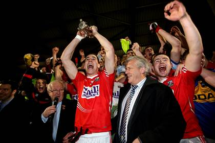 Cork captain Conor Dorman celebrates with the Munster U21FC cup.<br />&#169;INPHO/James Crombie.