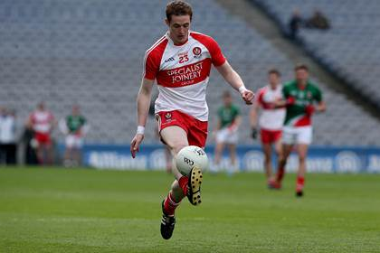Derry&#39;s Aaron Devlin.<br />&#169;INPHO/Donall Farmer.