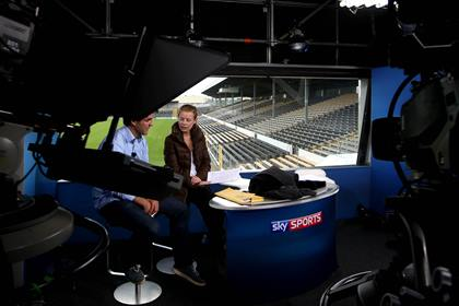 Behind-the-scenes with GAA presenters Brian Carney and Rachel Wyse in the Sky Sports Studio ©INPHO/James Crombie