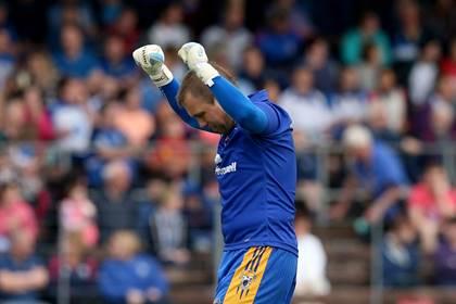 Clare goalkeeper Joe Hayes celebrates.<br />&#169;INPHO/James Crombie.