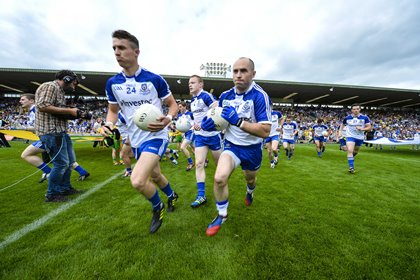 The Monaghan team make their way out on Ulster final day ©INPHO/Presseye/Russell Pritchard