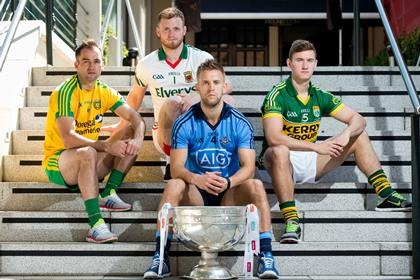 All Star material all: Donegal's Karl Lacey,  Mayo's Robbie Hennelly, Dublin's Jonny Cooper and James O' Donoghue of Kerry at the launch of the All-Ireland series ©INPHO/Morgan Treacy