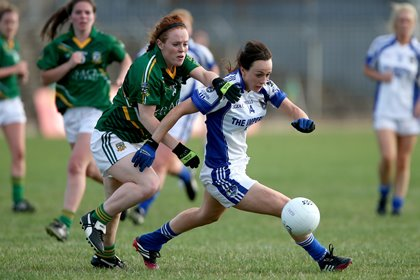 Cavan's Geraldine Sheridan gets away from Orlaith Duff of Meath ©INPHO/Ryan Byrne