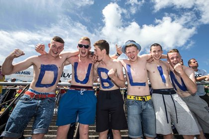 Dublin supporters, l/r: Dylan Keeley, Mark Hayes, Kieth Cooling, Luke Kelly, Daniel Cullen and Sean Rossiter from the Craobh Chiaráin GAA club in Dublin at Thurles for the All-Ireland SHC quarter-final against Tipperary ©INPHO/James Crombie