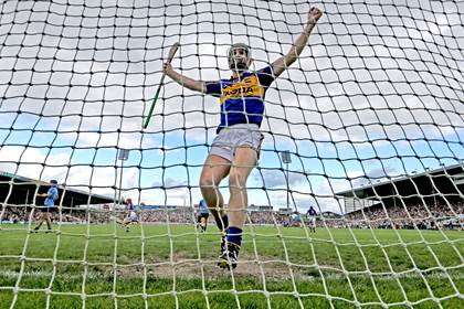 Tipperary's Noel McGrath celebrates after John O'Dwyer scored his sides opening goal against Dublin ©INPHO/James Crombie