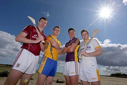 Cathal Mannion (Galway), Tony Kelly (Clare), Conor McDonald (Wexford) and Stephen McAfee (Antrim).<br />&#169;INPHO/Donall Farmer.