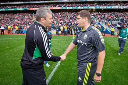 Mayo manager James Horan shakes hands with Kerry manager Eamonn Fitzmaurice after the drawn All-Ireland SFC semi-final.<br />&#169;INPHO/Morgan Treacy.