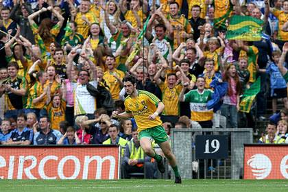 Donegal&#39;s Ryan McHugh celebrates scoring his first goal in front of Donegal fans.<br />&#169;INPHO/Donall Farmer.