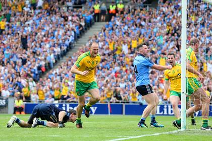 Colm McFadden celebrates his second half goal against Dublin in the All-Ireland SFC semi-final.<br />&#169;INPHO/Cathal Noonan.