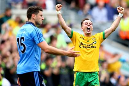 Karl Lacey celebrates a famous Donegal victory.<br />&#169;INPHO/James Crombie.