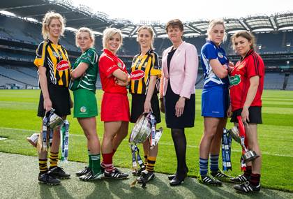 OUR GAME: YOUR GAME: l/r, Intermediate captains Mags Fennelly of Kilkenny and Fiona Hickey of Limerick, senior captains Anna Geary of Cork and Leann Fennelly of Kilkenny, President of the Camogie Association Aileen Lawlor and junior captains Sarah Ann Fitzgerald of Laois and Niamh Mallon of Down in advance of the Liberty Insurance Camogie Finals this Sunday, 14th September ©INPHO/Cathal Noonan