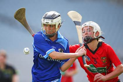 Down&#39;s Emma McCormick and Marion O&#39;Grady of Laois.<br />&#169;INPHO/Cathal Noonan.
