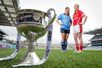 TG4 ladies senior finalists, Dublin's Sinead Goldrick and Roisin Phelan of Cork ©INPHO/Morgan Treacy