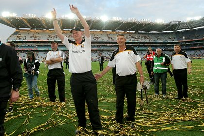 Kilkenny manager Brian Cody celebrates after leading Kilkenny to a 10th All-Ireland title.<br />&#169;INPHO/Ryan Byrne.