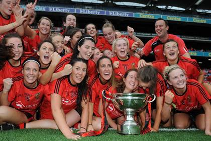 The Down team celebrate their All-Ireland ladies IFC final victory over Fermanagh.<br />&#169;INPHO/Tommy Grealy.