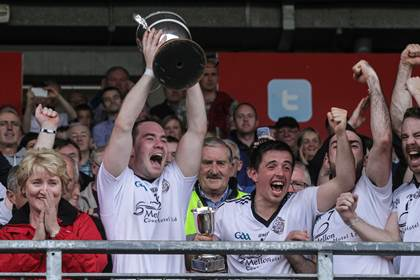 Omagh captain Hugh Gallagher lifts the trophy at Healy Park.<br />&#169;INPHO/Presseye/Russell Pritchard.