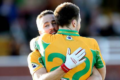 Michael Lundy and Kevin Murphy celebrate Corofin&#39;s  5-12 to 0-9 Galway SFC final win over St. Michael&#39;s.<br />&#169;INPHO/James Crombie.
