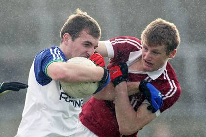 Slaughtneil&#39;s Brendan Rogers with Ryan Bell of Ballinderry during the Derry SFC final at Celtic Park.<br />&#169;INPHO/Presseye/Lorcan Doherty.