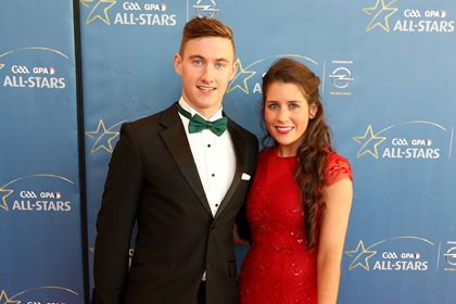 Kerry footballer James O'Donoghue and Christina Tangney at the 2014 GAA GPA All Stars Awards sponsored by Opel ©INPHO/Cathal Noonan