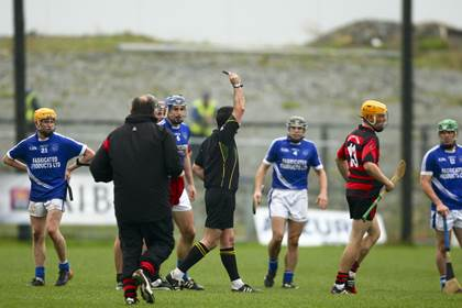 Ballygunner&#39;s Brian O&#39;Sullivan is sent off by referee Diarmuid Kirwan in the Munster club SHC quarter-final defeat to Cratloe.<br />&#169;INPHO/Ken Sutton.
