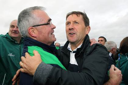 Moorefield manager Luke Dempsey celebrates with Jack O&#39;Connor, who had two sons (Eanna and Cian) playing on the victorious Moorfield team.<br />&#169;INPHO/Lorraine O&#39;Sullivan.